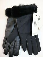 NWT $75 UGG Size S/M Women's Black Leather Quilted Shearling Cuff SMART Glove