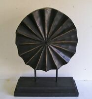 Modern Round Abstract Carved Wood Art Sculpture