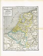 Karte NIEDERLANDE / BELGIEN, Original-Graphik 1874