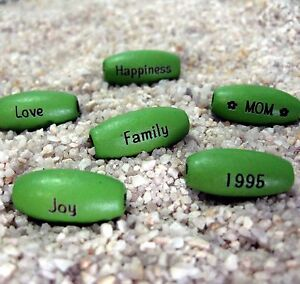 30 - PERSONALIZED Green Melon Wood 15x7mm Oval Beads - Custom Laser Engraved