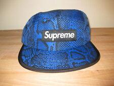 Supreme NY Nylon Soft Bill Snake Camp Cap 5 Panel snakeskin Blue Black Box Logo