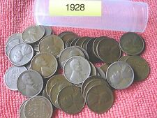 1928-P LINCOLN WHEAT CENT ROLL, 50 nice coins