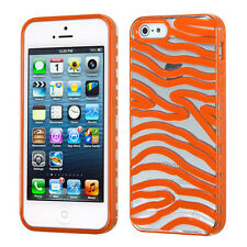 iPhone 5 5S Hybrid Zebra Clear Gummy Case Hard Cover Snap-On + Screen Protector