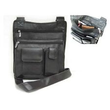 BLACK LEATHER MESSENGER BAG SHOULDER CROSS BODY TOTE TABLET IPAD CARRIER
