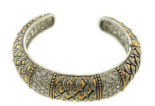 Rhodium Plated Two Toned Scale Designed Cuff Bracelet With Clear Rhinestones