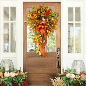 Farmhouse Style Fall Wreath Welcome Front Door Decor Hanger 1 pcs T0A5