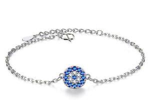 Devil's Eye 925 Sterling Silver Curb Chain Adjustable Bracelet Women's Jewellery