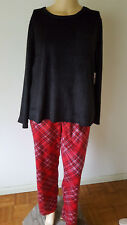 NWT Croft & Barrow Womens XXL Fleece Faux Fur PJS Pajamas Black Red Plaid