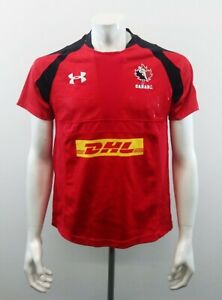 Under Armour Team Canada Men's Rugby Jersey DHL Size Small Red Black Shirt Heat
