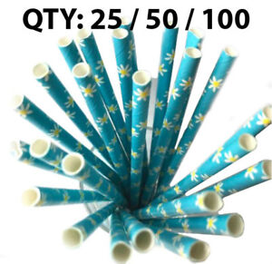 Cheap Paper Straws Floral Yellow Paper Drinking Straws Birthday 25 50 100