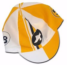 Assos Cap, Cycling Cap, Cotton Cycling Cap Cycling Made in Italy Yellow/ White