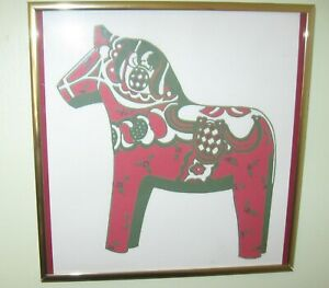 """Red Dala Horse Print Bronze Tone Framed Ready to Hang 9 1/2"""" Square 1"""" Depth"""