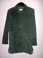 CHEROKEE Women's Dark Sage Suede Genuine Leather Jacket w Pockets - Size M