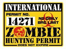 International ZOMBIE Hunting Permit Decal | Canada USA Norway Australia Sticker