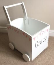 Wooden Children Baby Walker Push Cart Pink Bunting Personalised Toy Box