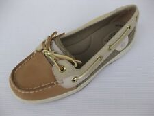 Sperry Topsider Womens Shoes NEW $90 Angelfish Tan Sparkled Linen Gold 10 M