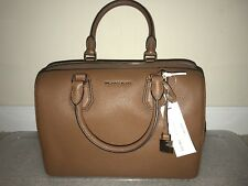 New Michael Kors Mercer Medium Leather Luggage Duffle Brown Bag Purse $298