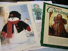 HOLIDAY SNOWMAN MR SPARKLES~ELF-leprechn~DOLL~ANGEL~cloth art doll patterns 1996