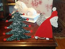 crate & barrel Christmas tree shape santa candle holders tole toleware painted