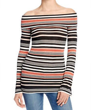 Free People Womens Black Off-The-Shoulder Striped Knit Casual Top S