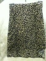 """VTG Disco 80s 90s Monteau Leopard Velvet Midi Pencil Skirt Stretch Slit 26-34"""" S"""