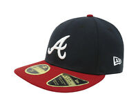 New Era 59Fifty Mens MLB Cap Atlanta Braves Low Profile Navy Blue/Red Fitted Hat
