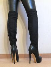Gr.45 TOP ! Exklusiv Sexy Damen Schuhe Overknee Stiletto Stiefel Männer Boots D2