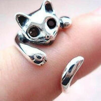 Katze Augen Silber Metall justierbarer Ring - Weiss GY