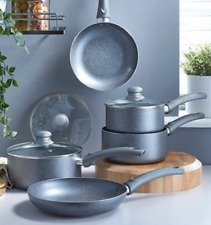 New! Grey Marble Effect Pan Set 5 Piece Non Stick Cookware Kitchenware