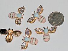 1pc. Miniature dollhouse tiny Golden Flatbacks Crystal Bumble Bee Ladybug 25mm