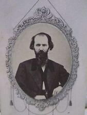 Antique CDV Photo-Civil War Era,Man,Long Beard,Mustache,Fashion-Ornate Border