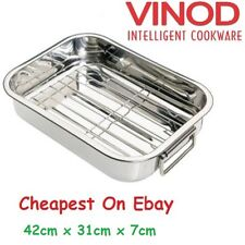 DEEP STAINLESS STEEL ROASTING PAN WITH GRILL RACK TRAY BAKING ROASTER TIN 42CM