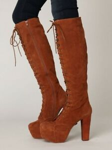 JEFFREY CAMPBELL Free People 6 Stevie TAN SUEDE KNEE-HI LACE-UP COMBAT BOOT Joe