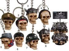 Polyresin & Metal Skull Novelty Keyring Key Chain 3D 8 Designs Gothic key Ring