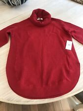 Chaos Red Waffle Ribbed Christmas Sweater 3/4 Sleeve Loose Fit Bnwt Sz Small $89