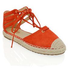 Womens Lace Up Flat Espadrilles Sandals Ladies Ankle Strap Casual Shoes Size