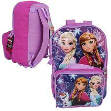 1 Disney Frozen Anna Elsa Olaf Backpack + Lunch Pack Pink & Light Purple # 19942