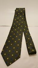 Brooks Brothers 346 Silk Neck Tie olive green with blue and yellow square patten