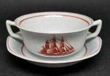 Vintage Wedgwood China FLYING CLOUD 1850 RUST CREAM SOUP BOWL & SAUCER Set