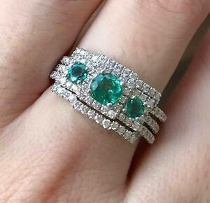 Three Stone Sterling Silver Emerald Ring Set Zambian Emerald Engagement Ring Set