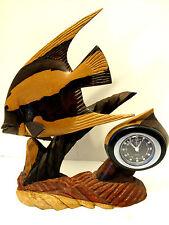 Vintage Hand Carved Wooden Wood Saltwater Angelfish Battery Op Alarm Shelf Clock