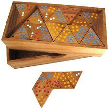 Tridomino Triomino Dreieck Domino - 56 Spielsteine aus Holz mit farbigen Punkten