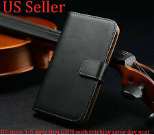For Samsung Galaxy S4 Mini I9190 Genuine Luxury Real Leather Wallet Case Cover