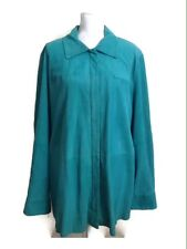 Marina Rinaldi By Max Mara Jacket XL 27 Green Goat Suede Leather Coat Women's