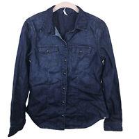 Caterpillar Women's S Pearl Snap 100% Cotton Denim Long Sleeve Elbow Patch Shirt