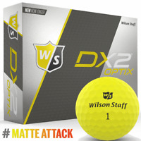 """NEW 2018"" WILSON DX2 OPTIX MATTE FINISH GOLF BALLS 12 BALL DOZEN PACK / YELLOW"