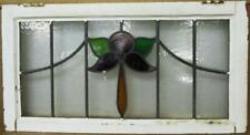 """OLD ENGLISH LEADED STAINED GLASS WINDOW TRANSOM Lovely Flower Design 30"""" x 16"""""""