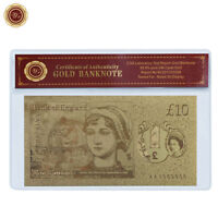 WR 2017 British New Polymer £10 Ten Pound Note Gold Foil Banknote Xmas Gifts Her