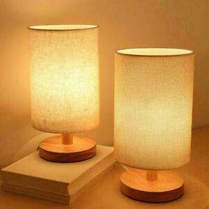 Nordic Cylinder Bedside Table Lamp Dimmer Wooden Table Fabric Lampshade U9L5