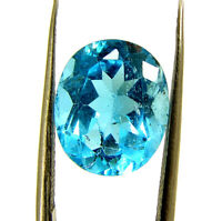 6.32 Ct Certified Natural Swiss Blue Topaz Loose Gemstone Oval Cut Stone- 134868